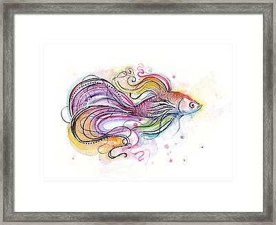 Betta Fish Watercolor Framed Print by Olga Shvartsur