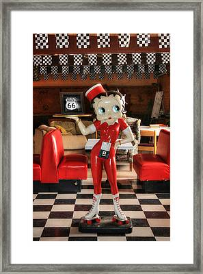 Betty Boop On Route 66 Framed Print by Lori Deiter