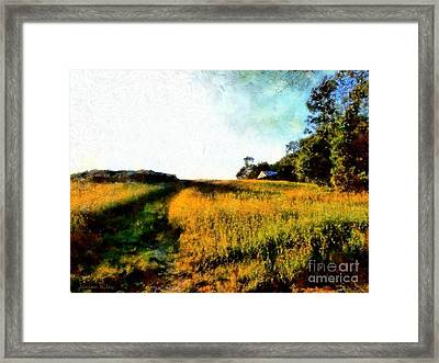 Beyond The Hill  Framed Print by Janine Riley