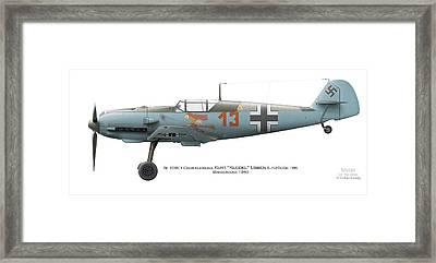 Bf 109e-1 Oberfeldwebel Kurt Ubben 6./tr.gr. 186. Wangerooge 1940 Framed Print by Vladimir Kamsky