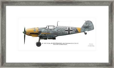 Bf 109e-7/b  Maj. Alfred Druschel Gruppenkommandeur I./sch.g.1 June 1942. Charkow-rogan Framed Print by Vladimir Kamsky