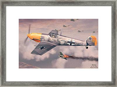 Bf 109e Geschwaderkommodore Jg 26 Adolf Galland Framed Print by Vladimir Kamsky