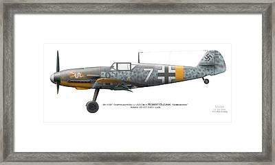 Bf 109f-2. Staffelkapitan 1./jg 3 Oblt. Robert Olejnik. 3 July 1941. Lyzk. Russia. 1941 Framed Print by Vladimir Kamsky