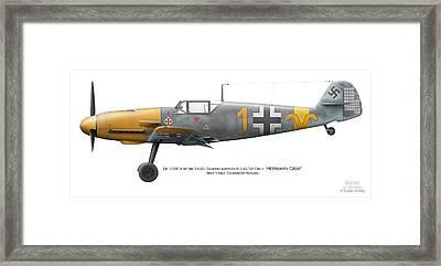 Bf 109f-4 W.nr.7420. Staffelkapitan 9./jg 52 Oblt. Hermann Graf. May 1942. Charkow-rogan. Framed Print by Vladimir Kamsky