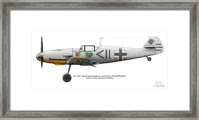 Bf 109f Gruppenkommandeur I./jg54 Hptm. Hans Philipp. March 1942. Krasnogwardeisk Framed Print by Vladimir Kamsky
