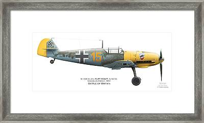 Bf109e-4. Uffz. Kurt Wolff. 3./jg 52. Coquelles. France. Battle Of Britain 1940 Framed Print by Vladimir Kamsky