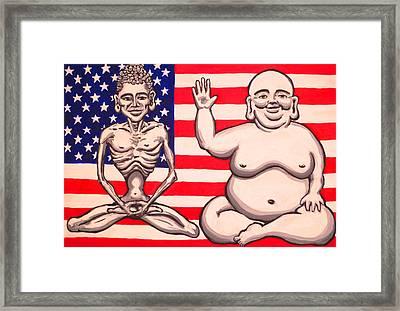Bi-polar Buddha Framed Print by Nathan Winsor