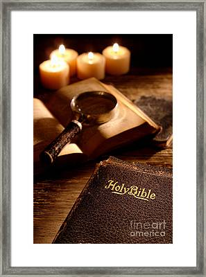 Bible Study Framed Print by Olivier Le Queinec