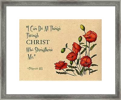 Bible Verse With Poppies Framed Print by Joyce Geleynse