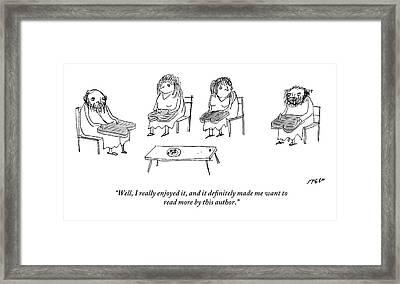 Biblical Scholars Read Tablets Like A Book Club Framed Print by Edward Steed