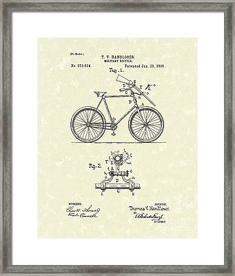 Bicycle 1896 Patent Art Framed Print by Prior Art Design