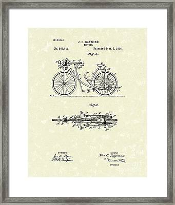 Bicycle 1906 Patent Art Framed Print by Prior Art Design