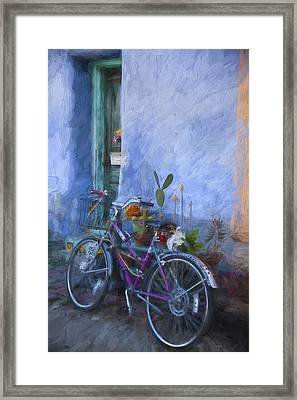 Bicycle And Blue Wall Painterly Effect Framed Print by Carol Leigh