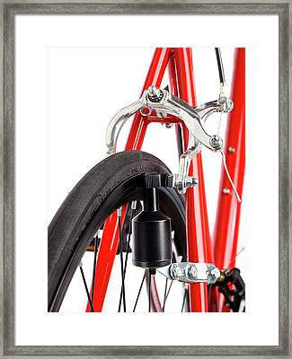 Bicycle Dynamo Fixed To Back Wheel Framed Print by Science Photo Library