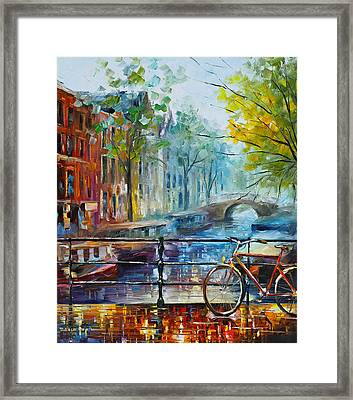 Bicycle In Amsterdam Framed Print by Leonid Afremov