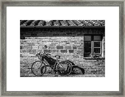 Bicycle In Black And White Framed Print by Clint Brewer