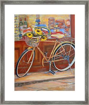 Bicycle In Cortona Framed Print by Brenda Brannon