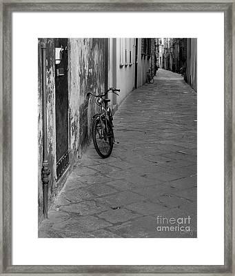 Bicycle In Lucca Framed Print by Prints of Italy