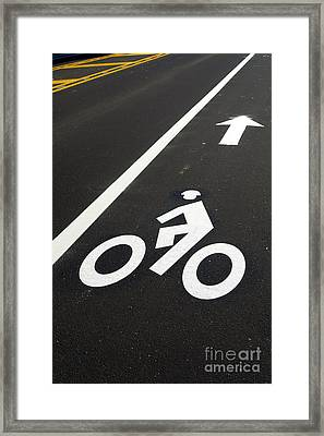 Bicycle Lane Framed Print by Olivier Le Queinec