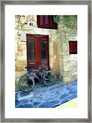 Bicycle Of Santorini Framed Print by Madeline Ellis