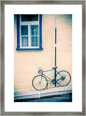 Bicycle On The Streets Of Old Quebec City Framed Print by Edward Fielding