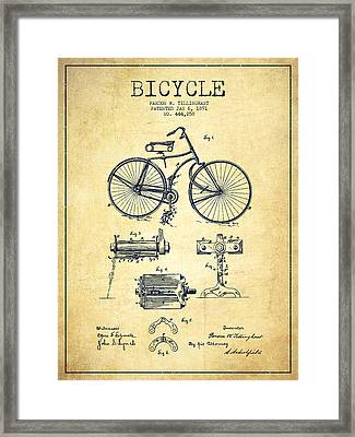 Bicycle Patent Drawing From 1891 - Vintage Framed Print by Aged Pixel