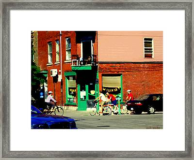 Bicycle Path At Wilenskys Diner Rue Fairmount And Clark Montreal Cafe Street Scene Carole Spandau Framed Print by Carole Spandau