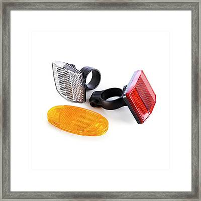 Bicycle Reflectors Framed Print by Science Photo Library
