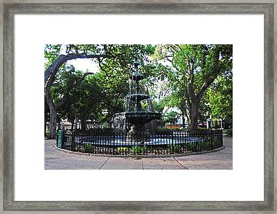Bienville Fountain Mobile Alabama Framed Print by Michael Thomas