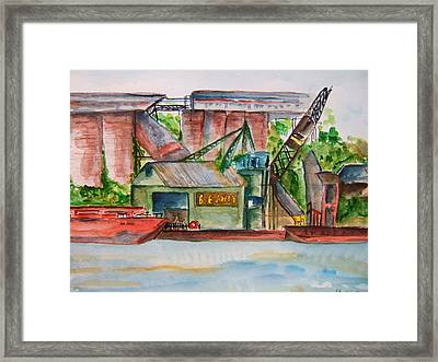 Big Andy Terminal On Ohio River Framed Print by Elaine Duras