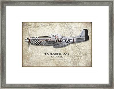 Big Beautiful Doll P-51d Mustang - Map Background Framed Print by Craig Tinder