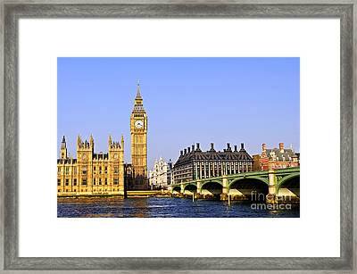 Big Ben And Westminster Bridge Framed Print by Elena Elisseeva