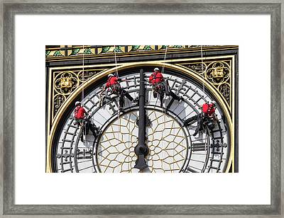 Big Ben Clock Face Cleaning Framed Print by Mark Thomas