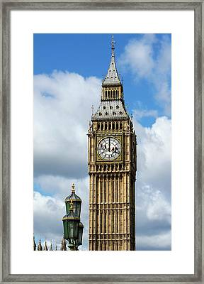 Big Ben Clock Tower And Cleaning Framed Print by Mark Thomas