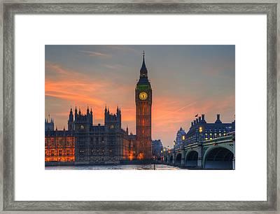 Big Ben Parliament And A Sunset Framed Print by Matthew Gibson