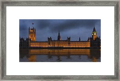 Big Ben Parliament London Digital Painting Framed Print by Matthew Gibson