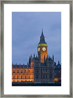 Big Ben Parliament Wesminster London Digital Painting Framed Print by Matthew Gibson