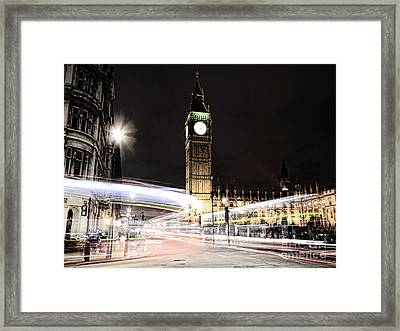 Big Ben With Light Trails Framed Print by Jasna Buncic