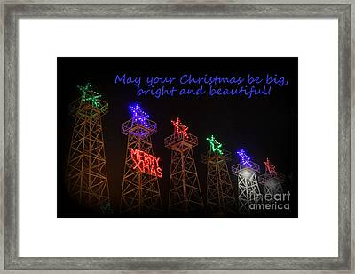 Big Bright Christmas Greeting  Framed Print by Kathy  White