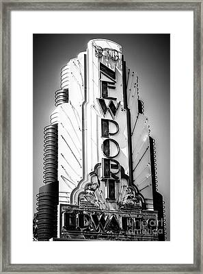 Big Newport Edwards Theater Marquee In Newport Beach Framed Print by Paul Velgos