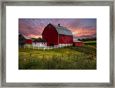 Big Red At Sunset Framed Print by Debra and Dave Vanderlaan
