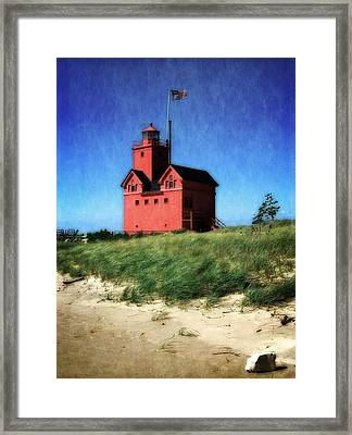 Big Red With Flag Framed Print by Michelle Calkins