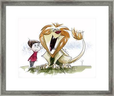 Big Roar Lion Framed Print by Andrew Fling