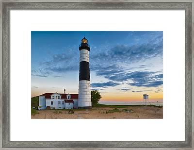Big Sable Point Lighthouse Sunset Framed Print by Sebastian Musial