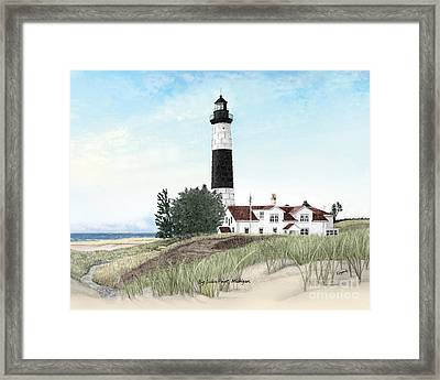 Big Sable Point Lighthouse Titled Framed Print by Darren Kopecky