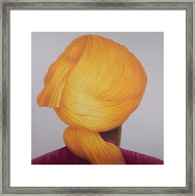 Big Saffron Turban Framed Print by Lincoln Seligman