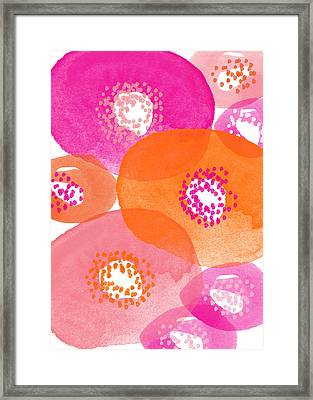 Big Spring Flowers- Contemporary Watercolor Painting Framed Print by Linda Woods