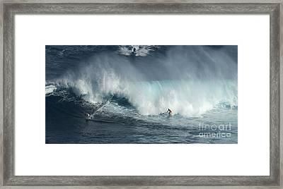 Big Wave Surfers Maui Framed Print by Bob Christopher