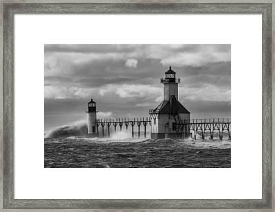 Big Waves At St. Joseph Lighthouse Framed Print by Gej Jones