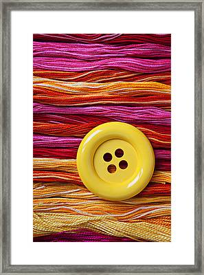 Big Yellow Button  Framed Print by Garry Gay